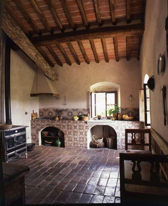Деревенская кухня, интерьер в итальянском стиле