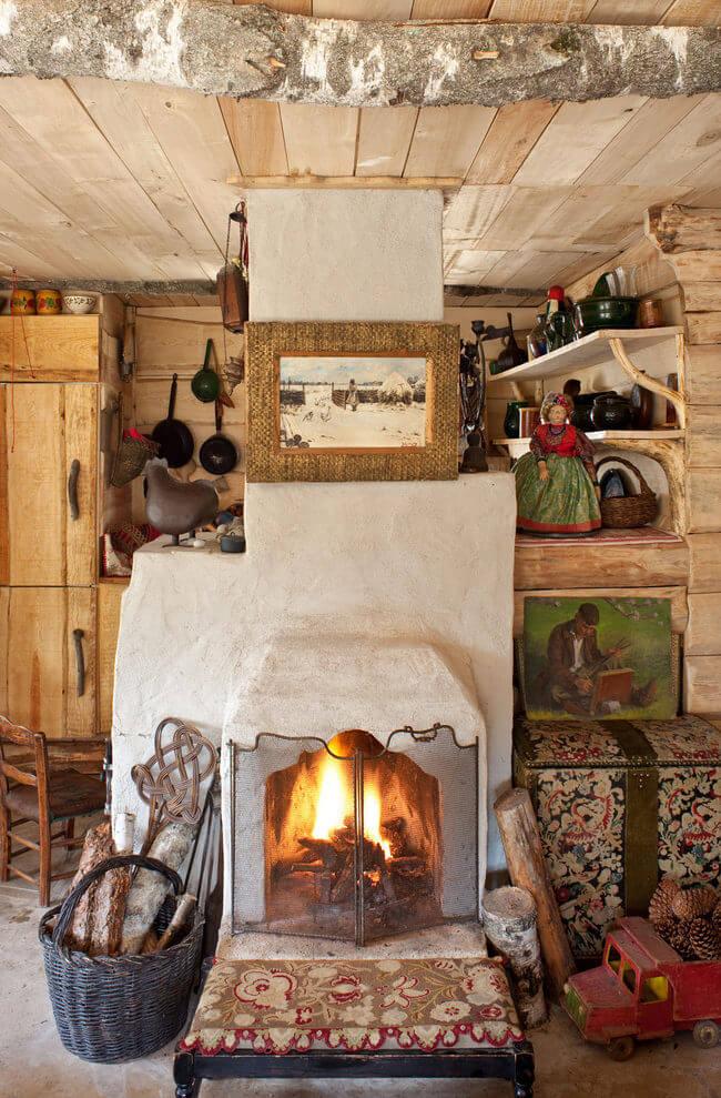Дизайн деревенского дома с печкой внутри (фото)
