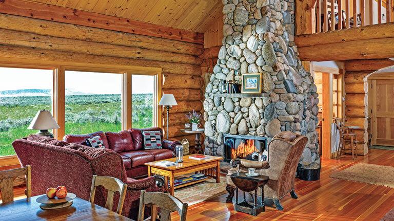 Интерьер деревянного дома из бревна